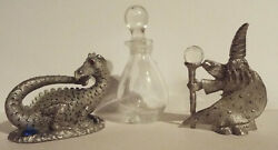 Vintage Pewter Wizard Cmr954 Dragon Mr1304 Spoontiques Figurines Glass Potion