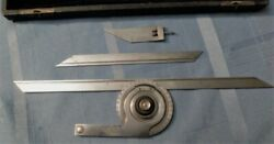 Vintage Starrett No. C364 Protractor Set - Complete - In Leather Wrapped Case