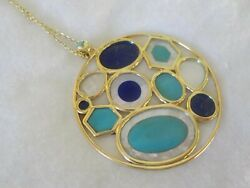 Ippolita Rock Candy 18k Yellow Gold Mop Turquoise Lapis Necklace -22.4 Gm 36 In
