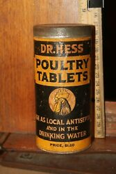 Antique Dr. Hess Poultry Tablets Tin And Paper Can Full
