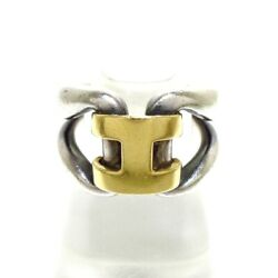 Auth Hermes History Ring Silver Gold Hardware Ring49 Us 4 5/8