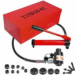 15 Ton 1/2 To 4 Hydraulic Knockout Punch Driver Kit Hole Complete Tool 10 D...
