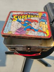 Rare Lunch Box Vintage Superman And Thermos Thermos 1967