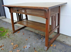 Great Stickley Bros. Trestle Style Table W/ Cutouts And Old Finish, Excellant