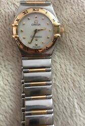 Omega Constellation Ladies 18 Carat Yellow Gold + Stainless Steel Watch 1 Owner
