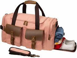 Kemyand039s Canvas Duffle Bag Oversized Genuine Leather Weekend Bags For Men And Wome