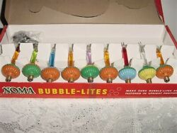 Vintage 9 Noma Bubble Lights W/ Clips And Box No. 509 Box Exellent W/ Tag 3.98