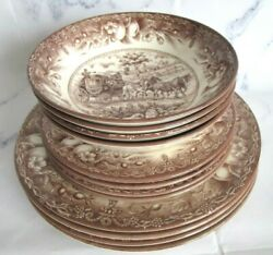 12pc Royal Stafford Dinner Salad Plates Soup Serving Bowls Brown Horse Carriage