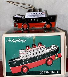 1998 Schylling Tin Boat Miniature Ocean Liner Christmas Tree Ornament Toy In Box