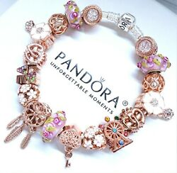 Authentic Pandora Silver Bracelet Rose Gold Pink Glass And Crystal European Charms