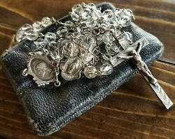 Vintage Rosary Sterling Silver Catholic Medals Crucifix Antique Religious Charms