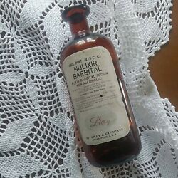 Antique Lilly Barbital Brown Cork Pharmacy Bottle Narcotic Medicine Apothecary