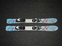 K2 Tnine Childand039s Kids Youth Girls Downhill Skis 90 Cm With Look Team 4 Bindings