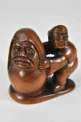 Antique In The Past Netsuke Tree Carve _11188