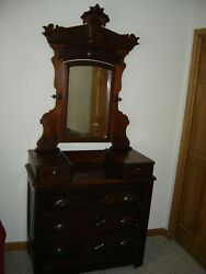 Antique Solid Wood Dresser Mirror Combination From 1880and039s--1890and039s Time Period
