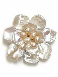[cherry] Freshwater Pearl Glame Flower Brooch Clip Natural Stone Power Stone A96