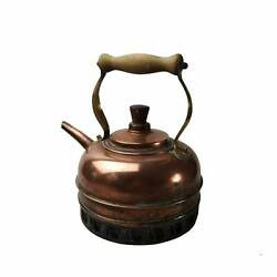 Antique Copper Brass Wooden Handle Kettle With Stand Rustic Kitchen Decor