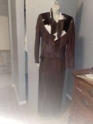 Rousseaux Cowhide Calf Hair On Jackethalterskirtlong Fringesoft Leather M/l