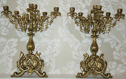 Pair Antique Candelabras Louis Xv French Bronze Gilt/gold Large Candlesticks