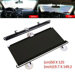 Cars Front Windshield Rear Curtain Auto Retractable Window Sun Shade Cover Black