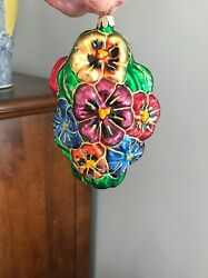 Large Christopher Radko Retired Pansy Patch Christmas Holiday Ornament