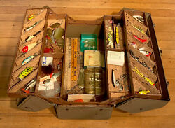 1950 Vintage Falls City Fishing Tackle Box Filled With Vintage Lures And Tackle