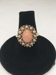 Antique 14 K Yellow Gold Natural Pink Coral Ring Pearl Halo Size 6 El Design