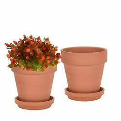 8 Inch Clay Pot For Plant With Saucer - 2 Pack Large Terra Cotta Plant Pot Wi...