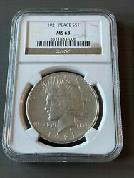 1921 1 High Relief Silver Peace Dollar Ngc Ms 63 Blast White