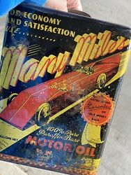 Rare Many Miles 2 Gallon Oil Can Graphic Race Car Two Gallon Sign
