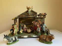 """Vintage Fontanini 1960's Italy - Nativity Set- 5"""" Figures And Manger Paper Mache"""