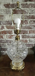 """Vtg Waterford Alana Crystal Table Lamp Piano Bedroom Light 28""""etched Signed"""