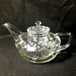 Vintage Corning Pyrex Etched Floral Daisy Clear Glass Squat Teapot And Trivet Usa