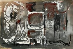 Vintage Abstract Shapes Oil Painting Mid Century Modern Art Signed Armstrong