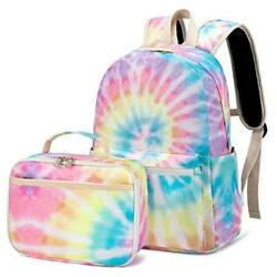 Backpack for Girls Kids School Backpack with Lunch Box Tie Dye Yellow $50.64