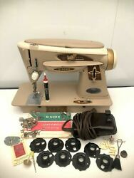 Vintage Singer 503a Slant-o-matic Rocketeer Sewing Machine With Accessories