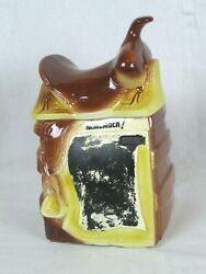 Rare Vintage American Bisque Chalkboard Saddle Cookie Jar 12 Tall 1940/50and039s