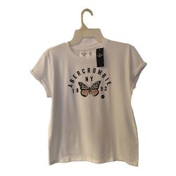 Abercrombie Kids Girls White Top Short Sleeves Butterfly Graphic Size 15 16 $14.99