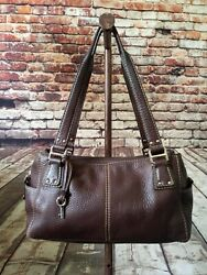 Fossil Brown Pebbled Leather Medium two side Pockets hobo Satchel purse $39.99