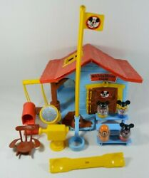 Vtg 1970's Disney Mickey Mouse Clubhouse With Weeble Wobble Figures In Box