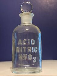 Vintage Nitric Acid Glass Bottle Hno3 T.c.w. Co. Apothecary Lab Penny Stopper