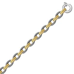 18k Yellow Gold 925 Silver Dual Polished Cable Chain Bracelet 7.5 In