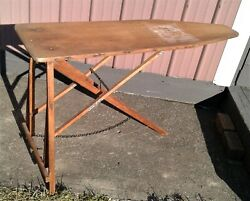 Antique Gem Folding Wooden Ironing Board Table 1900s
