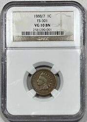1888/7 Indian Head Cent 1c Penny Ngc Vg 10 Brown Fs-301