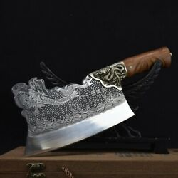 Handmade Kitchen Knives Copper Dragon Decor Sharp Bone Meat And Poultry Tools