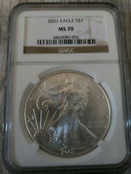 Vintage 2001 American Silver Eagle 1oz Coin Ngc Graded Ms70