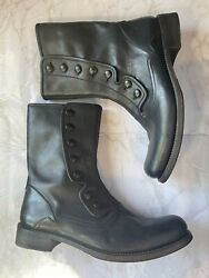 John Varvatos Bowery Button Boot Black Size 10.5 Made In Italy 1095