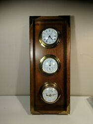 Vintage Wall Barometer Weather Station With Clock Usa Made Small Chip See Pic