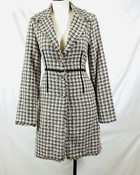 True Meaning Plaid Tweed Coat Pink And Dark Gray Overcoat Size 2