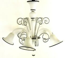 Chandelier Glass Murano White Detail Black 5xe14 Not Varnished Authentic